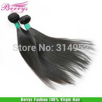 "Berrys Hair Products Brazilian Virgin Hair Straight  Hair Extensions 2pcs/lot ,100g/pcs 10""-34"" Natural Color  Human Hair Weave"