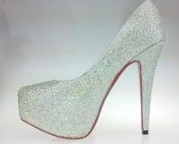 Red Bottom High Heel Shoes for Women 2014 Genuine Leather Rhinestone Women Pumps 14cm&16cm Women Shoes,Free Shipping