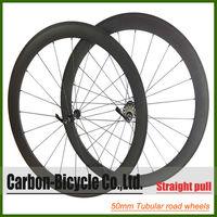 Straight pull 50mm tubular carbon bike wheels 700c carbon fiber road racing bicycle wheels powerway r36 hub