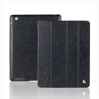 For iPads 4/3/2 Case Protective PU Leather Cover Handmade Slim Smart Black Case For iPad3 Free Shipping Designer Brand Jisoncase