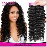 Grade 5A Virgin Brazilian Hair,3Pcs/lot Deep Curly Remy Human Hair, Natural Color,8-28Inches Aliexpress Yvonne Hair