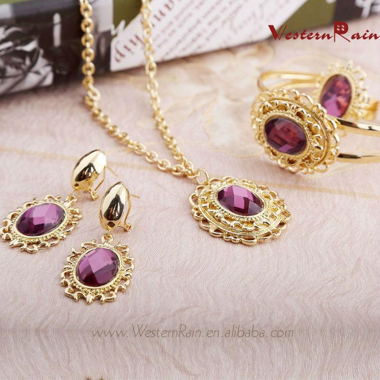 New Design 2014 African Woman Gold Plated Jewelry Set with Brown&Purple Rhinestone /Fashion Perfume Costume Jewelry Set A204(China (Mainland))