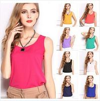 2014 New fashion Women Chiffon tank Tops Vest Shirts solid candy 12 color camis chiffon loose top Shirt