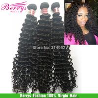 "Berrys Fashion hair productsPeruvian virgin hair deep curly 3pcs/lot(12""-30"")soft bundle hair extension Best quality human hair"