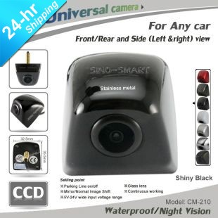 "Free shipping SUV/TRUCK/Car CCD 1/3"" front/left/right/rear view stainless metal cover parking camera night vision waterproof"