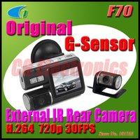 F70 H.264 Dual Lens HD 720P Dashboard Car vehicle Camera Video Recorder DVR CAM G-sensor/F70 for 30fps