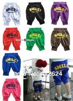 Free shipping wholesale 5pcs/lot Smile baby clothes kids wear children clothing Boys girls Middle pants candy colored fashion