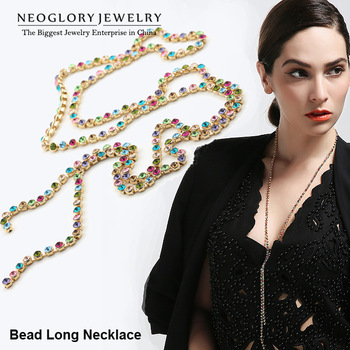 Neoglory MADE WITH SWAROVSKI ELEMENTS Rhinestone Colorful Long Bead Chain Necklaces Jewelry Accessories for Women 2014 New Hot