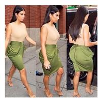 2014 New Fashion Kimkardashian Style Business Suit Pencil Skirt Summer/Autumn OL Skirts For Women Knee Length Free Shipping