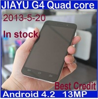 "freeshipping jiayu g4 phone android 4.2 mtk6589T 1.5G quad Core 1GB 4GB 13MP 3000mAh battery 4.7"" IPS Gorilla Screen stock/Eva"