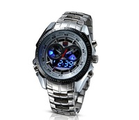TVG Fashion Black Men's Digital Sports LED Watch Mens Hight Quality Stainless Steel 30AM Waterproof Watches for men T-02G