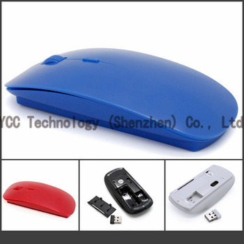 Black/White/Blue/Red Free Shipping Ultra Slim Optical Mouse 2.4Ghz  USB  Wireless Computer Mouse With  Receiver