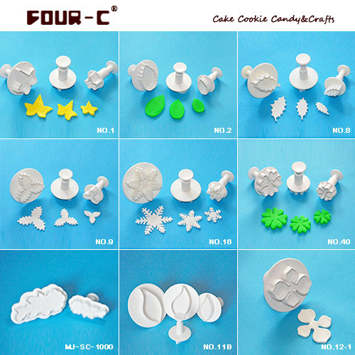 Lvy Leaf/ Hydrangea/ Snowflake/ Rose Leaf Sugarcraft Gumpaste/Sugarpaste Plastic/ Plunger Cutter Sugar craft Tool 9 Sets (24Pcs)(China (Mainland))