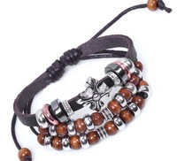 wholesale  fashion and free shipping Wooden Beads  braided leather bracelet