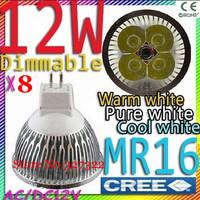 Free shipping 8 pcs/lot Dimmable CREE MR16 AC&DC12V 12W 9W high power Led spotlight downlight bulb lamp led light lighting