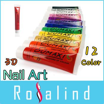 Rosalind 12 Colors 12ML 3D Nail Art Paint Tube Draw Painting Acrylic Nail Art Tip UV Gel FREE SHIPPING