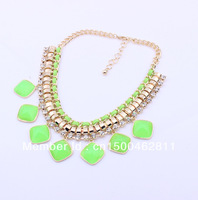2013 Fall New Arrival Gold Chain Fluorescent Candy Color Resin Gem Bib Statement Necklaces J C Fashion Bijoux Jewelry Retail JC