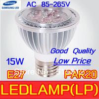 Free shippin  Sample - High Quality LED Light PAR 20 15W 5x3w Spotlight E27 85-265v  Cool White Warm White PAR20 low price bulb