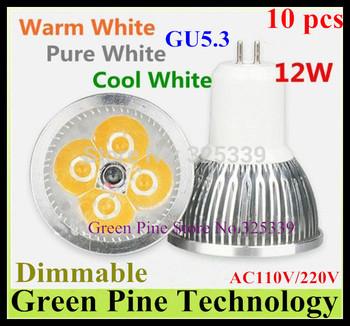 Free shipping 10 pcs CREE Dimmable 12W 9W GU5.3 MR16 GU10 E27 B22 E14 High Power LED Spotlight Downlight lamp LED Light LED bulb