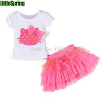 IN STOCK! Cartoon t-shirts clothing 2 piece set girls bow Bowknot  T-shirt+ tutu veil children  cute suit ELZ-T0101