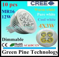 Free shipping 12 pcs Dimmable CREE MR16 12W 9W AC&DC12V High Power LED Spotlight Downlight  lamp Bulb LED Lighting LED light