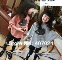 Retail! New Fashion Cotton children's clothing t shirts girls long batwing sleeve outwear t-shirt tops 100/110/120130/140 613003