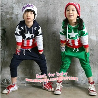 2013 New Children Flag Sports Suit Boy's Girl's Baby Clothing Sets Kids Garment Long Sleeve Hoodies T-shirt Pants Outfits Autumn