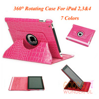 SeaPlays Luxury Crocodile 360 Rotating PU Leather Stand Case Cover For iPad 2 3 4 With Sleep Wake Function 8 Colors