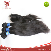 Grade 5A Straight Brazilian Virgin Hair Weaving 3bundls with a closure queen hair prodct free shipping For Your Nice Hair