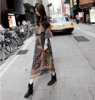 2013 women's one-piece dress full dress bohemia chiffon long design floral print dress 1981