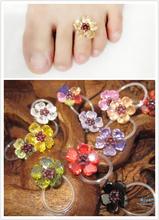 Free Shipping  Toe Ring  Flower Of Crystal   For Women &Girls Foot Flower  Zircon Flower