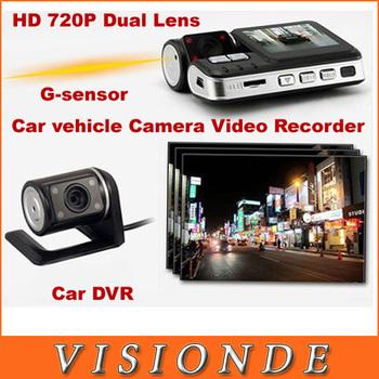 HD 720P Dual Lens Dashboard Car vehicle Camera Video Recorder DVR CAM G-sensor 5 2 Free Shipping