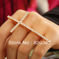 CCR195 New Arrival Punk Cool Charms Double Fingers Fashion New Cross Rings