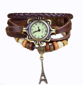 Retro Vintage Watch Analog Leather strap Ladies quartz watch Eiffel Tower Pendant wristwatches alarm Bead Bracelet casual watch