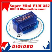 2014 New Design Super Mini ELM327 Bluetooth V1.5 OBD2 auto code reader mini327 Car diagnostic interface ELM 327 FREE SHIPPING