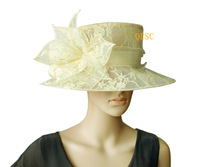 Bridal dress sinamay organza hat covered with lace for Kentucky Derby,church,wedding,4 colors,black,white,purple,cream
