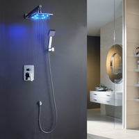 Romantic 10-inch Square 3 Color LED Shower Head Bathroom Wall Mount Shower Faucet Set Chrome BR-LED1010