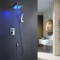 Romantic 10-inch Square 3 Color LED Shower Head Bathroom Wall Mount Shower Faucet Set Chrome BR-LED1010