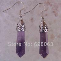 Amethyst Beads Dangle Earrings Jewelry Free Shipping T121