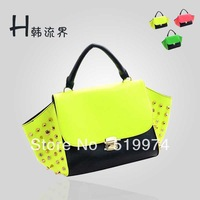 2013 women's handbag  punk rivet handbag shoulder messenger bag PU leather free shipping