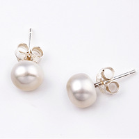 Sterling Silver S925 Stud Earrings Natural Freshwater Pearl Earrings For Women Free Shipping Hot Sell 2014 New Arrival Promotion