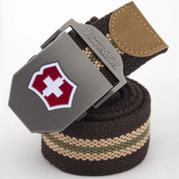 Red Cross military Men's thicken canvas outdoor sports brand belt with automatic buckle tactical casual waistband FBB09