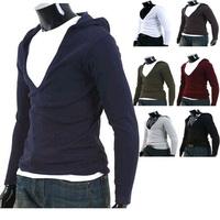 Men Long Sleeve Hoodies V Neck Cotton Soft   Fashion Sport Suits Sweatshirt  7 Color 4 Size