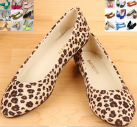 Free shipping 6 COLORS leopard print fake suede women's flat shoes ballet hot sales casual shoes EU size 35-40