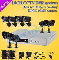 DIY Security kit camera surveillance system 16CH HDMI DVR + 8pcs 480tvl color outdoor Waterproof CCTV Camera Recording system