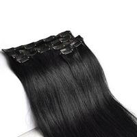 "15"" 18"" 20"" 22"" remy clip in human hair extensions full head 1#  jet black 70g,80g 7 pcs set"