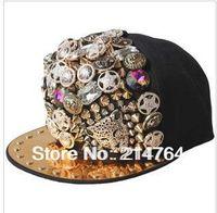 unisex baseball cap ladygaga Punk style rivet hip-hop spike hat leopard rivet flat brim hat rock/street dancing[240602]
