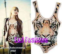 Free shipping Siamese tight stretch tiger pattern design tank top Tigers vest bodysuits swim suits tiget jumpsuit. N299