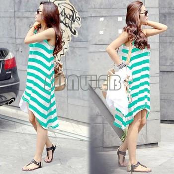 wholesale Korean Women's Girl Casual Stripe Irregular Beach Dress Sleeveless tank Sundress 3colors dropshipping 16368