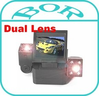 Free Shipping World's First Dual Lens Car Camera Recorder Ultra-high Definition Wide Angle 120 Degree H3000